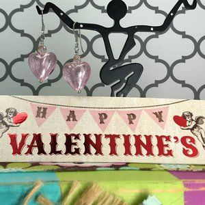 925 Sterling Large Pink Heart Glass Bead Earrings